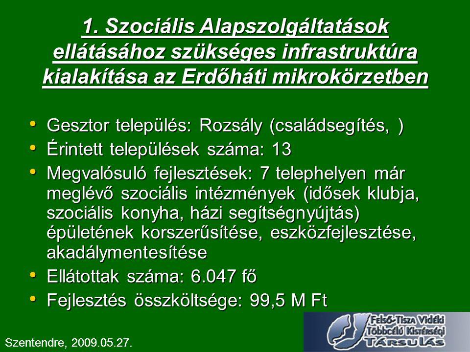 1. Szociális Alapszolgáltatások ellátásához szükséges infrastruktúra kialakítása az Erdőháti mikrokörzetben Gesztor település: Rozsály (családsegítés,