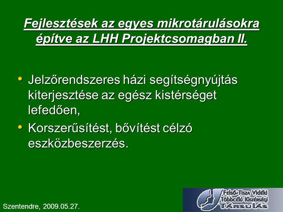 Fejlesztések az egyes mikrotárulásokra építve az LHH Projektcsomagban II. Jelzőrendszeres házi segítségnyújtás kiterjesztése az egész kistérséget lefe