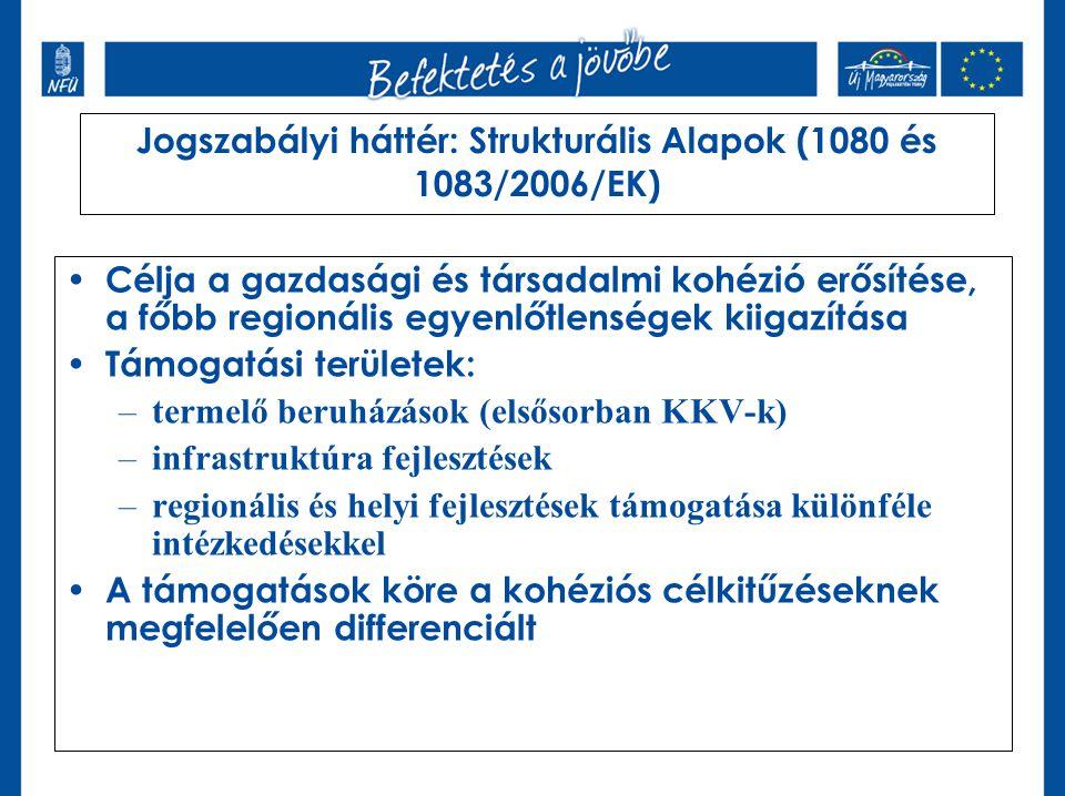 Jogszabályi háttér: Strukturális Alapok (1080 és 1083/2006/EK) Célja a gazdasági és társadalmi kohézió erősítése, a főbb regionális egyenlőtlenségek k