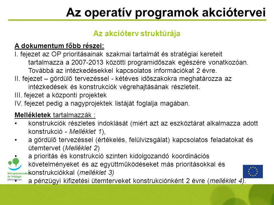 Az operatív programok akciótervei Az akcióterv struktúrája A dokumentum főbb részei: I.