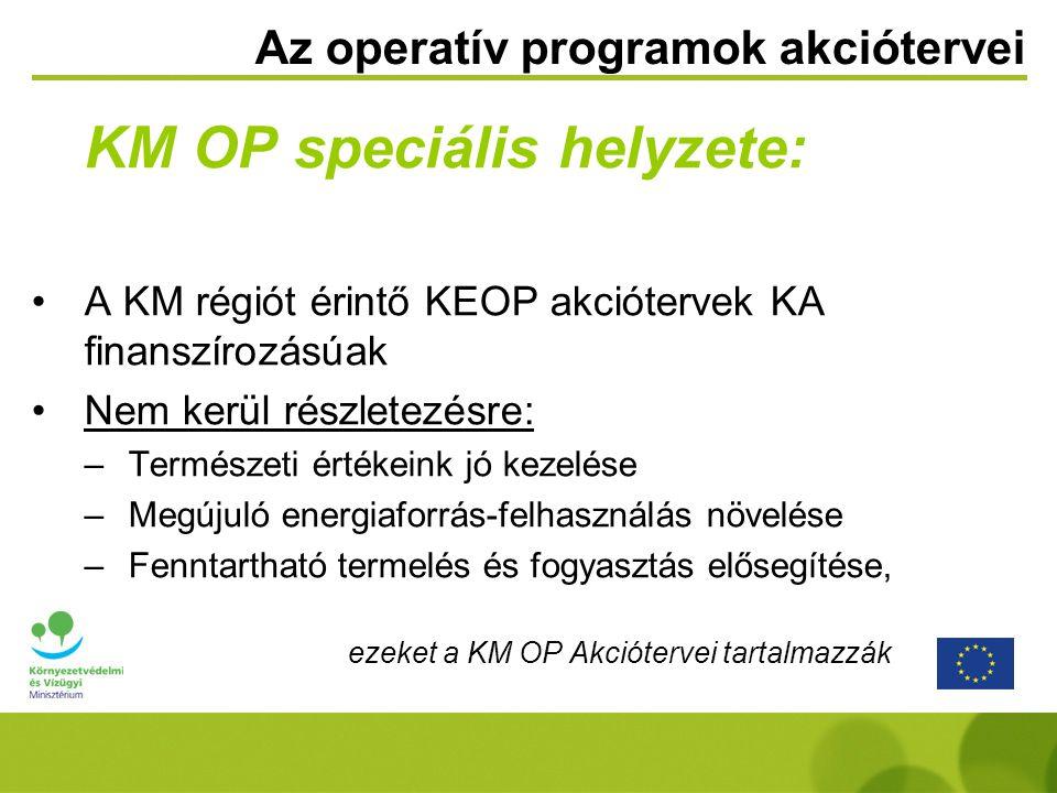 Az operatív programok akciótervei KM OP speciális helyzete: A KM régiót érintő KEOP akciótervek KA finanszírozásúak Nem kerül részletezésre: –Természeti értékeink jó kezelése –Megújuló energiaforrás-felhasználás növelése –Fenntartható termelés és fogyasztás elősegítése, ezeket a KM OP Akciótervei tartalmazzák