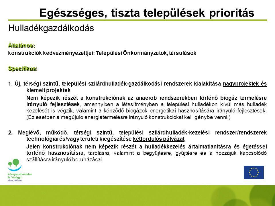 Egészséges, tiszta települések prioritás HulladékgazdálkodásÁltalános: konstrukciók kedvezményezettjei: Települési Önkormányzatok, társulások Specifikus: 1.
