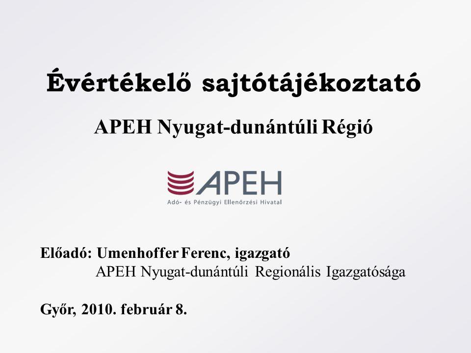 Évértékelő sajtótájékoztató APEH Nyugat-dunántúli Régió Előadó: Umenhoffer Ferenc, igazgató APEH Nyugat-dunántúli Regionális Igazgatósága Győr, 2010.