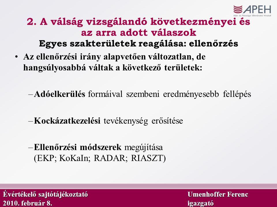 Az ellenőrzési irány alapvetően változatlan, de hangsúlyosabbá váltak a következő területek: –Adóelkerülés formáival szembeni eredményesebb fellépés –Kockázatkezelési tevékenység erősítése –Ellenőrzési módszerek megújítása (EKP; KoKaIn; RADAR; RIASZT) Évértékelő sajtótájékoztató Umenhoffer Ferenc 2010.