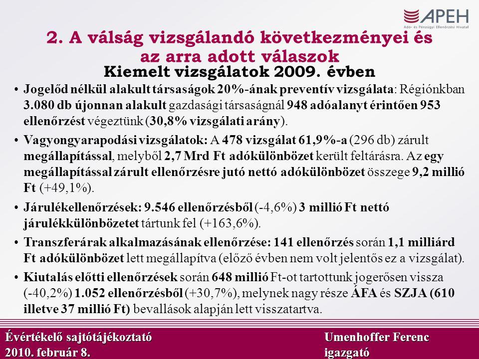 2. A válság vizsgálandó következményei és az arra adott válaszok Kiemelt vizsgálatok 2009. évben Évértékelő sajtótájékoztató Umenhoffer Ferenc 2010. f