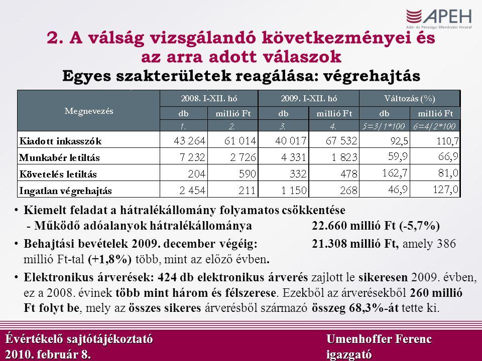 2. A válság vizsgálandó következményei és az arra adott válaszok Kiemelt feladat a hátralékállomány folyamatos csökkentése - Működő adóalanyok hátralé