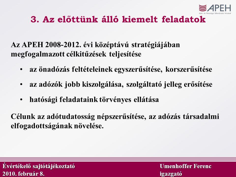 Évértékelő sajtótájékoztató Umenhoffer Ferenc 2010. február 8.igazgató Az APEH 2008-2012. évi középtávú stratégiájában megfogalmazott célkitűzések tel