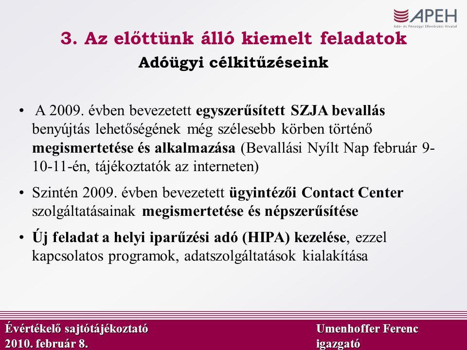 Adóügyi célkitűzéseink Évértékelő sajtótájékoztató Umenhoffer Ferenc 2010. február 8.igazgató A 2009. évben bevezetett egyszerűsített SZJA bevallás be
