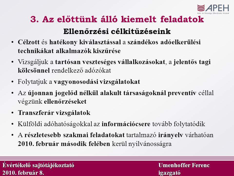 Ellenőrzési célkitűzéseink Évértékelő sajtótájékoztató Umenhoffer Ferenc 2010. február 8.igazgató Célzott és hatékony kiválasztással a szándékos adóel