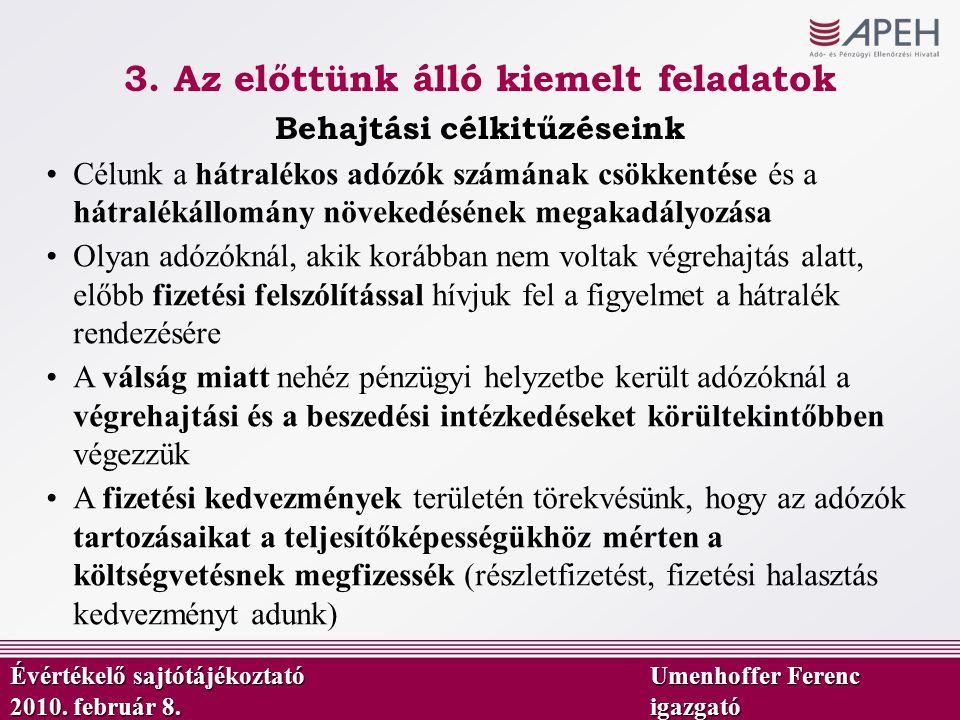 Behajtási célkitűzéseink Évértékelő sajtótájékoztató Umenhoffer Ferenc 2010. február 8.igazgató Célunk a hátralékos adózók számának csökkentése és a h