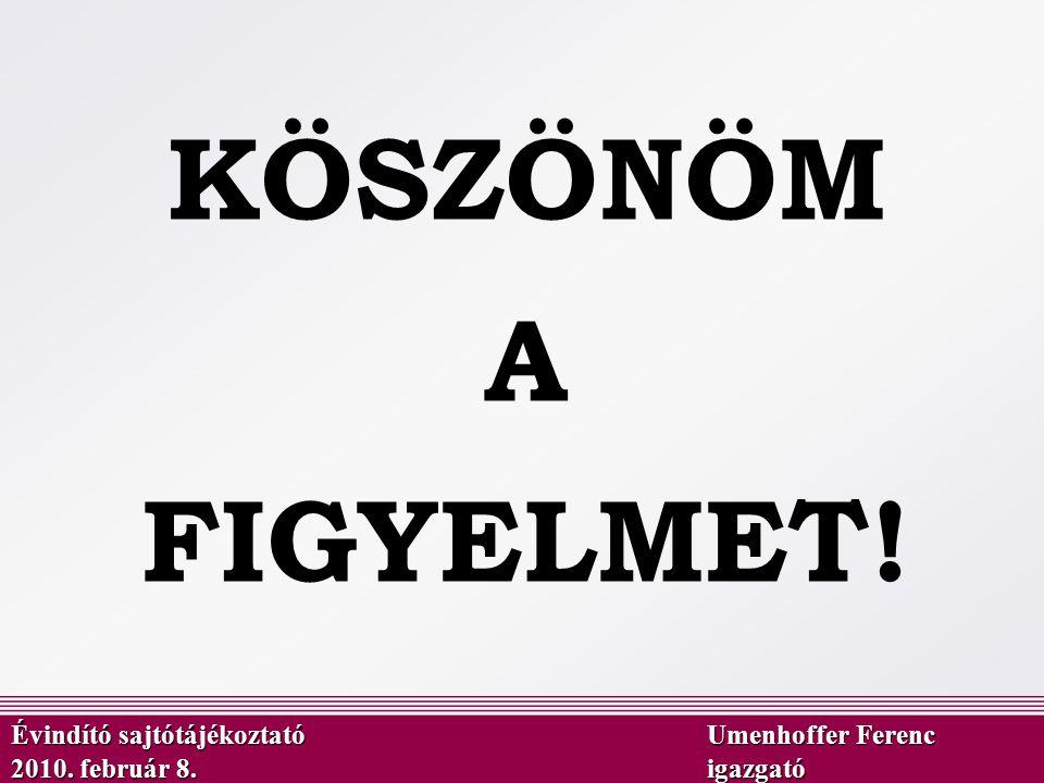 KÖSZÖNÖM A FIGYELMET! Évindító sajtótájékoztató Umenhoffer Ferenc 2010. február 8.igazgató