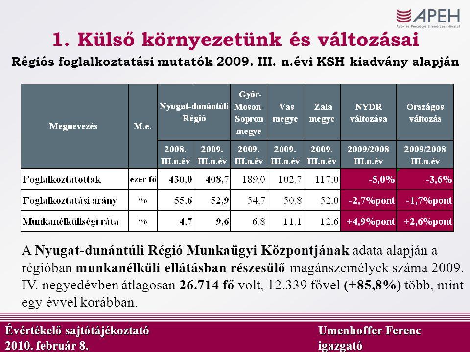 1. Külső környezetünk és változásai Régiós foglalkoztatási mutatók 2009. III. n.évi KSH kiadvány alapján A Nyugat-dunántúli Régió Munkaügyi Központján