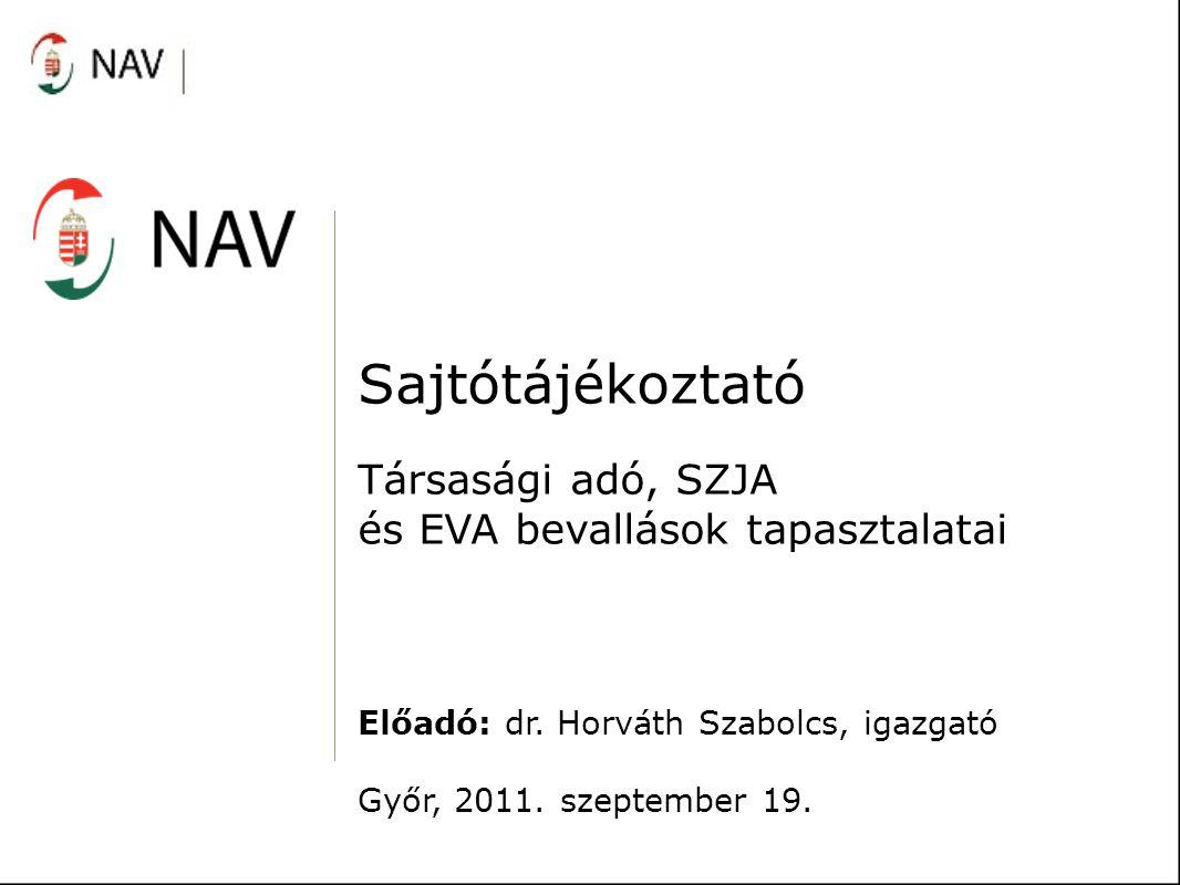 Sajtótájékoztató Társasági adó, SZJA és EVA bevallások tapasztalatai Előadó: dr.