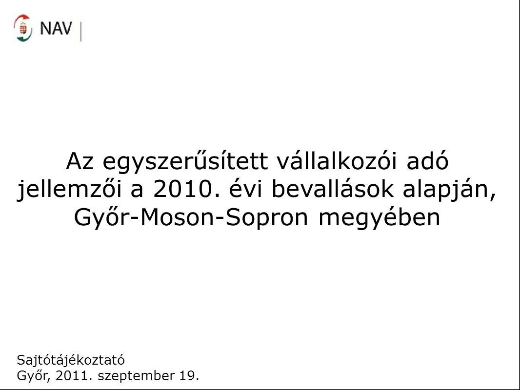 Sajtótájékoztató Győr, 2011. szeptember 19. Az egyszerűsített vállalkozói adó jellemzői a 2010.
