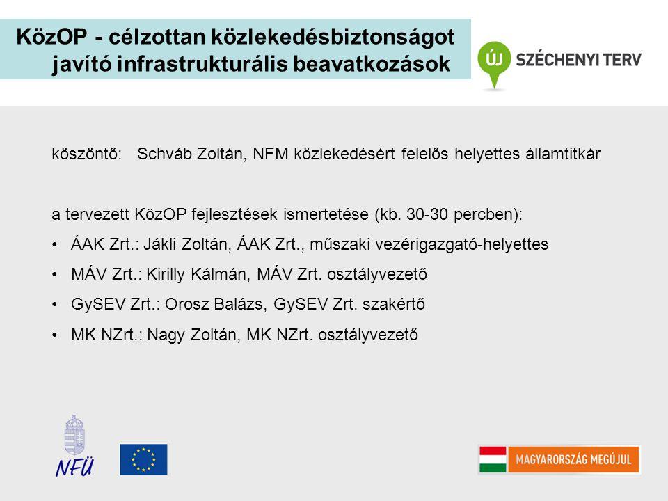 KözOP - célzottan közlekedésbiztonságot javító infrastrukturális beavatkozások köszöntő: Schváb Zoltán, NFM közlekedésért felelős helyettes államtitká
