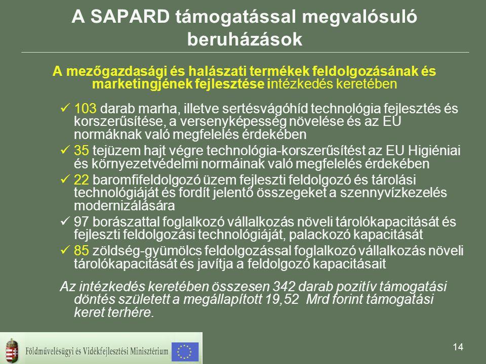 14 A SAPARD támogatással megvalósuló beruházások A mezőgazdasági és halászati termékek feldolgozásának és marketingjének fejlesztése intézkedés keretében 103 darab marha, illetve sertésvágóhíd technológia fejlesztés és korszerűsítése, a versenyképesség növelése és az EU normáknak való megfelelés érdekében 35 tejüzem hajt végre technológia-korszerűsítést az EU Higiéniai és környezetvédelmi normáinak való megfelelés érdekében 22 baromfifeldolgozó üzem fejleszti feldolgozó és tárolási technológiáját és fordít jelentő összegeket a szennyvízkezelés modernizálására 97 borászattal foglalkozó vállalkozás növeli tárolókapacitását és fejleszti feldolgozási technológiáját, palackozó kapacitását 85 zöldség-gyümölcs feldolgozással foglalkozó vállalkozás növeli tárolókapacitását és javítja a feldolgozó kapacitásait Az intézkedés keretében összesen 342 darab pozitív támogatási döntés született a megállapított 19,52 Mrd forint támogatási keret terhére.