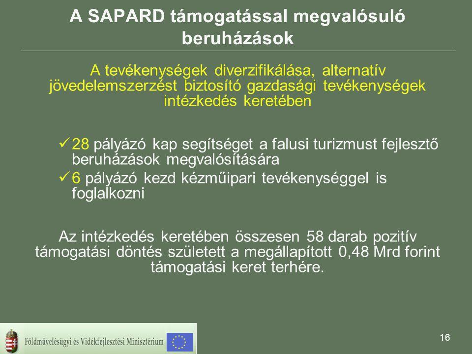 16 A SAPARD támogatással megvalósuló beruházások A tevékenységek diverzifikálása, alternatív jövedelemszerzést biztosító gazdasági tevékenységek intézkedés keretében 28 pályázó kap segítséget a falusi turizmust fejlesztő beruházások megvalósítására 6 pályázó kezd kézműipari tevékenységgel is foglalkozni Az intézkedés keretében összesen 58 darab pozitív támogatási döntés született a megállapított 0,48 Mrd forint támogatási keret terhére.