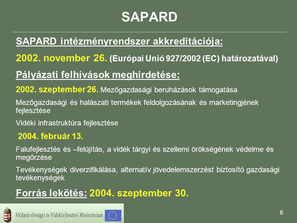 7 Beérkezett SAPARD pályázatok A 2004.