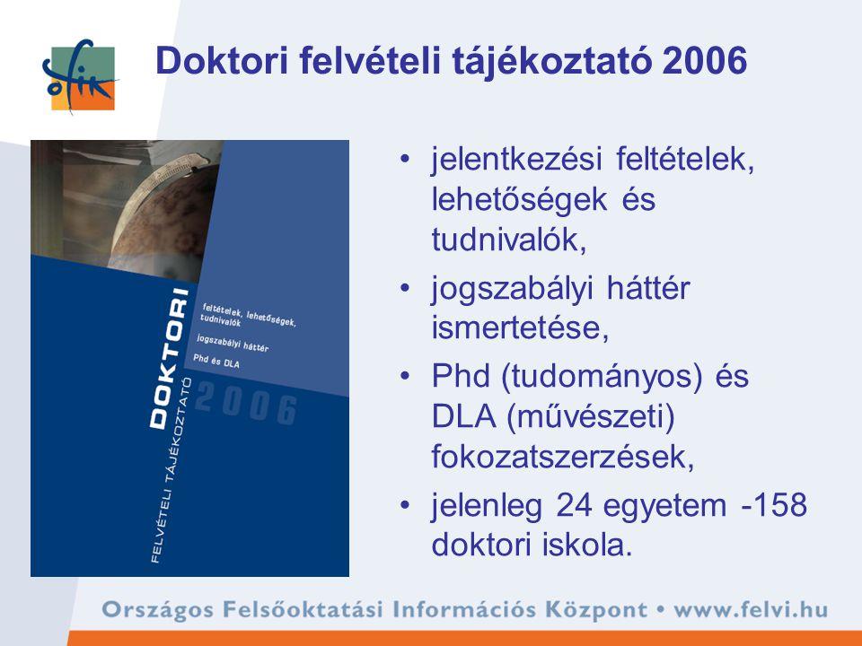 Doktori felvételi tájékoztató 2006 jelentkezési feltételek, lehetőségek és tudnivalók, jogszabályi háttér ismertetése, Phd (tudományos) és DLA (művészeti) fokozatszerzések, jelenleg 24 egyetem -158 doktori iskola.