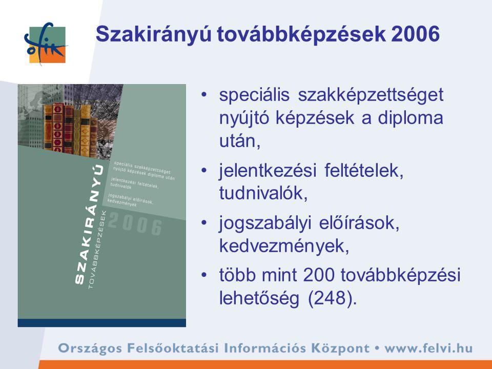 Szakirányú továbbképzések 2006 speciális szakképzettséget nyújtó képzések a diploma után, jelentkezési feltételek, tudnivalók, jogszabályi előírások, kedvezmények, több mint 200 továbbképzési lehetőség (248).