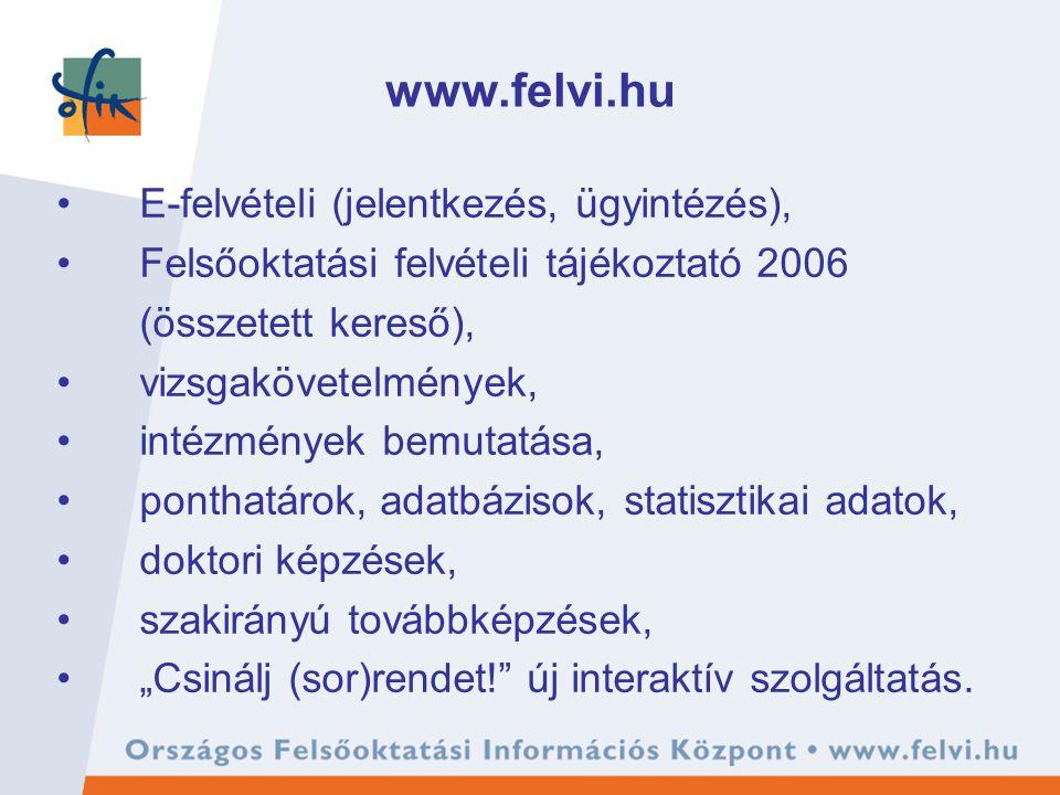 """www.felvi.hu E-felvételi (jelentkezés, ügyintézés), Felsőoktatási felvételi tájékoztató 2006 (összetett kereső), vizsgakövetelmények, intézmények bemutatása, ponthatárok, adatbázisok, statisztikai adatok, doktori képzések, szakirányú továbbképzések, """"Csinálj (sor)rendet! új interaktív szolgáltatás."""
