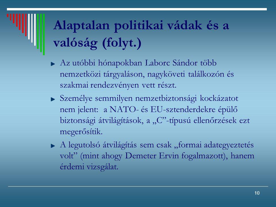 10 Alaptalan politikai vádak és a valóság (folyt.) Az utóbbi hónapokban Laborc Sándor több nemzetközi tárgyaláson, nagyköveti találkozón és szakmai re