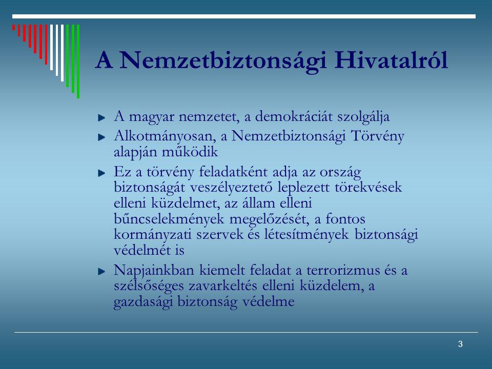 3 A Nemzetbiztonsági Hivatalról A magyar nemzetet, a demokráciát szolgálja Alkotmányosan, a Nemzetbiztonsági Törvény alapján működik Ez a törvény fela