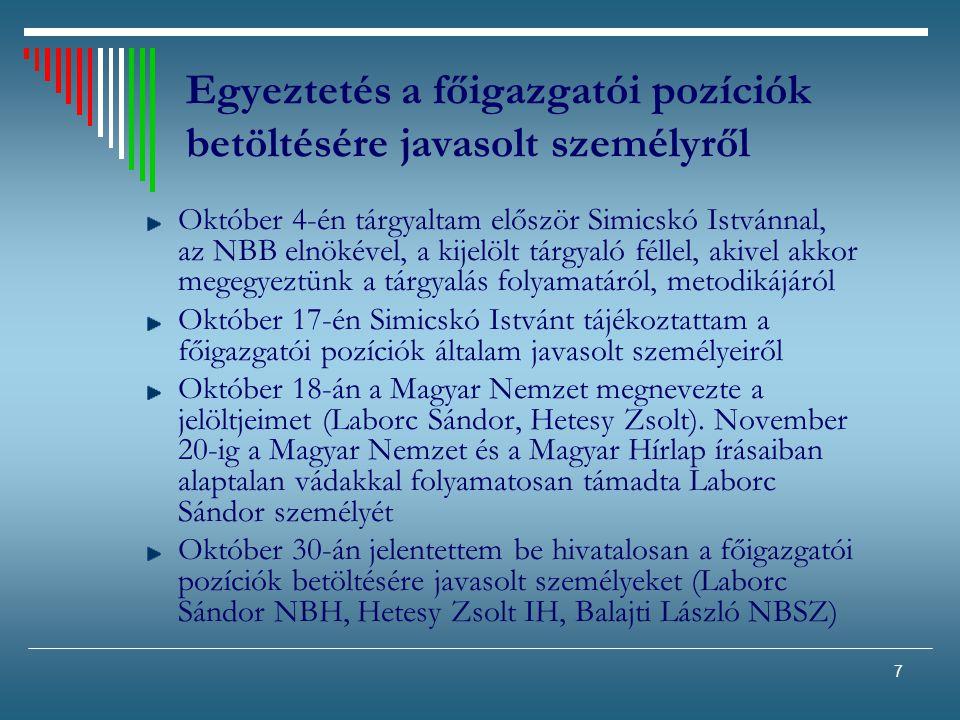 7 Egyeztetés a főigazgatói pozíciók betöltésére javasolt személyről Október 4-én tárgyaltam először Simicskó Istvánnal, az NBB elnökével, a kijelölt t