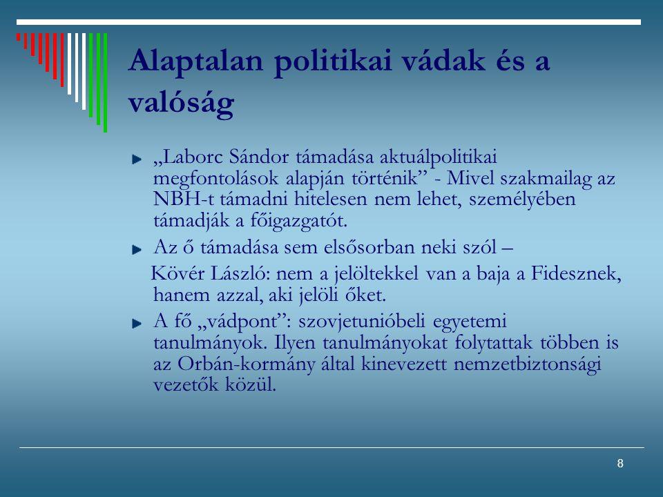 """8 Alaptalan politikai vádak és a valóság """"Laborc Sándor támadása aktuálpolitikai megfontolások alapján történik"""" - Mivel szakmailag az NBH-t támadni h"""