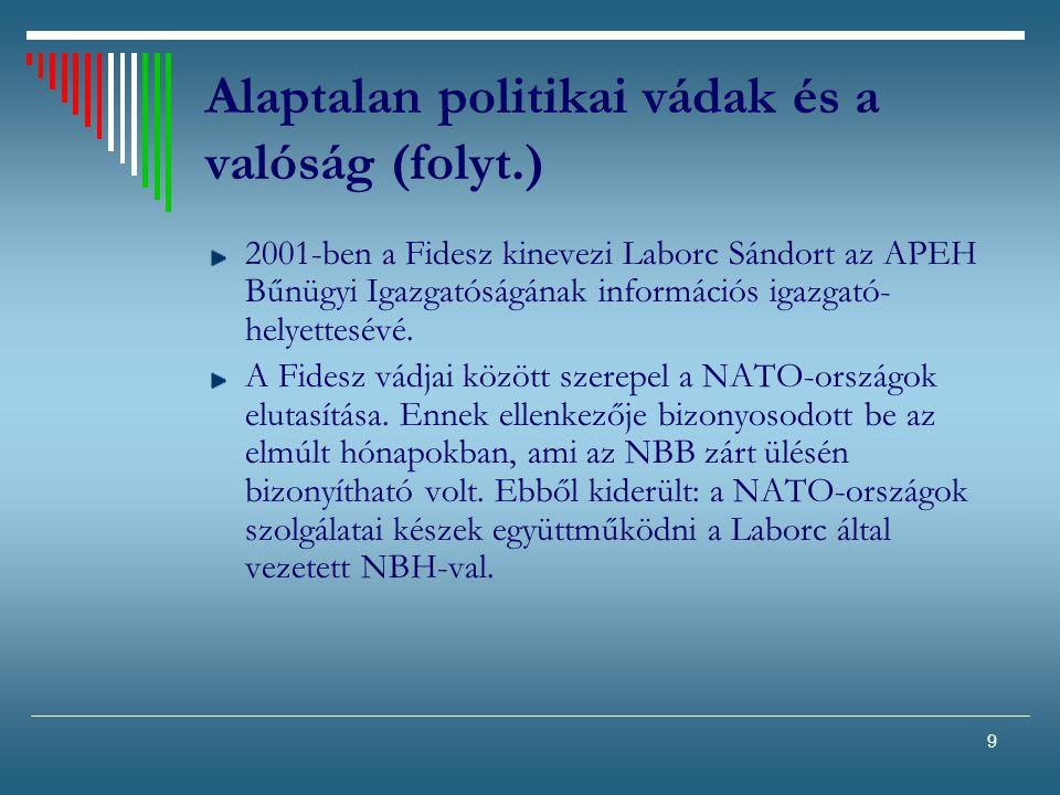 9 Alaptalan politikai vádak és a valóság (folyt.) 2001-ben a Fidesz kinevezi Laborc Sándort az APEH Bűnügyi Igazgatóságának információs igazgató- hely