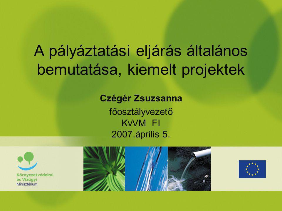 Kétfordulós pályázatok: Természeti értékeink jó kezelése KedvezményezettProjektméret mFt Támogatási keret 2007-2008 mFt Élőhelyvédelem, - helyreállítás; élettelen természeti értékek megőrzése; elektromos szabadvezetékek kiváltása Nemzeti park igazgatóságok Környezetvédelmi és vízügyi igazgatóságok (csak élőhelyrek) 50-1500 50-500 5 600 Élőhelyvédelem, - helyreállítás, fejlesztés Települési önkormányzatok, társulások Állami erdőgazdasági ZRt-k Civil szervezetek Közhasznú társaságok közalapítványok 50-2001 000 Gyűjteményes növénykertek és védett történeti kertek megőrzése és helyreállítása Nemzeti park igazgatóságok Egyéb központi költségvetési szervek Települési önkormányzatok Állami erdőgazdasági ZRt-k 800