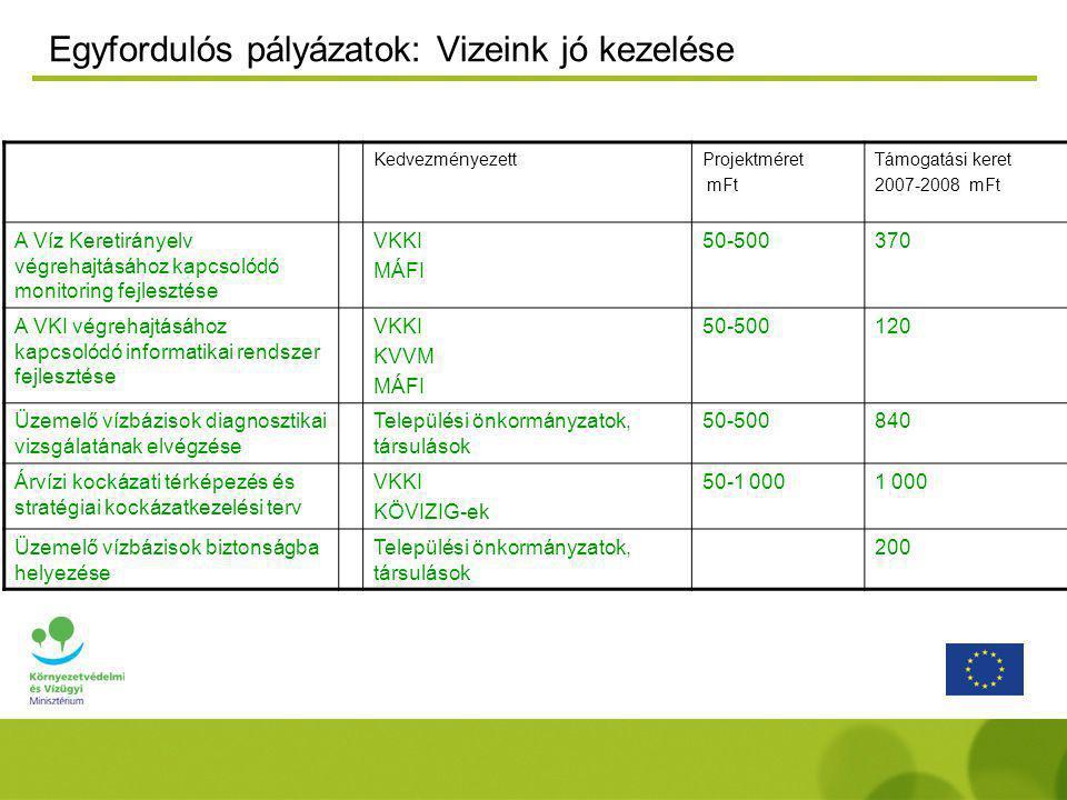Egyfordulós pályázatok: Vizeink jó kezelése KedvezményezettProjektméret mFt Támogatási keret 2007-2008 mFt A Víz Keretirányelv végrehajtásához kapcsolódó monitoring fejlesztése VKKI MÁFI 50-500370 A VKI végrehajtásához kapcsolódó informatikai rendszer fejlesztése VKKI KVVM MÁFI 50-500120 Üzemelő vízbázisok diagnosztikai vizsgálatának elvégzése Települési önkormányzatok, társulások 50-500840 Árvízi kockázati térképezés és stratégiai kockázatkezelési terv VKKI KÖVIZIG-ek 50-1 0001 000 Üzemelő vízbázisok biztonságba helyezése Települési önkormányzatok, társulások 200