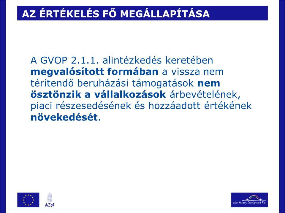 AZ ÉRTÉKELÉS FŐ MEGÁLLAPÍTÁSA A GVOP 2.1.1. alintézkedés keretében megvalósított formában a vissza nem térítendő beruházási támogatások nem ösztönzik