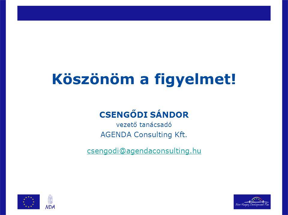 Köszönöm a figyelmet! CSENGŐDI SÁNDOR vezető tanácsadó AGENDA Consulting Kft. csengodi@agendaconsulting.hu