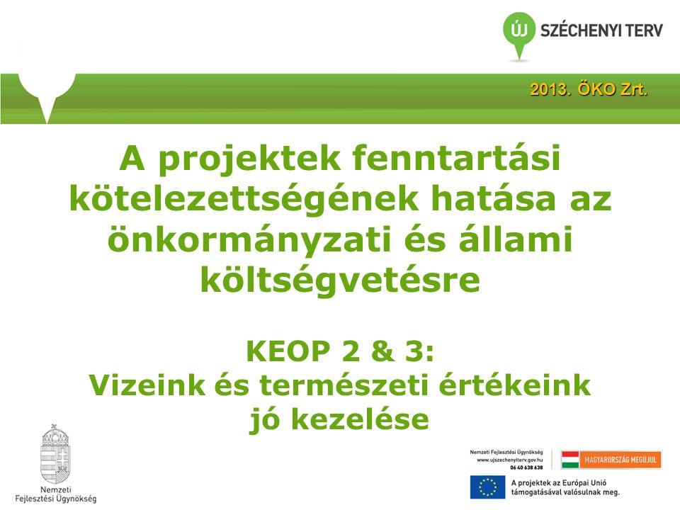 A projektek fenntartási kötelezettségének hatása az önkormányzati és állami költségvetésre KEOP 2 & 3: Vizeink és természeti értékeink jó kezelése 2013.