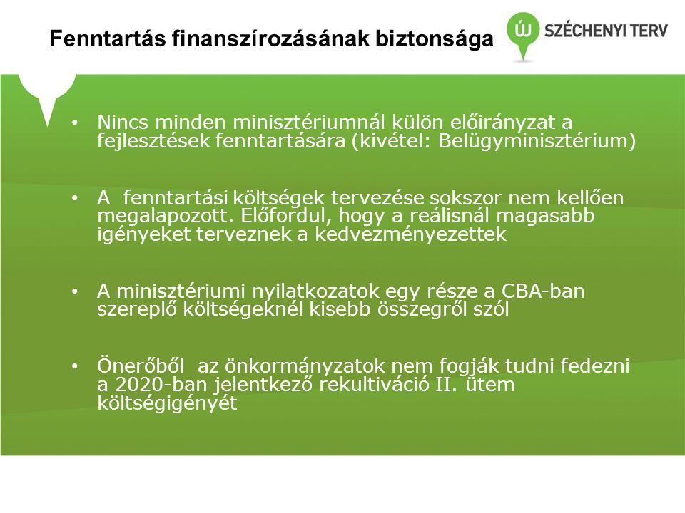 Fenntartás finanszírozásának biztonsága Nincs minden minisztériumnál külön előirányzat a fejlesztések fenntartására (kivétel: Belügyminisztérium) A fenntartási költségek tervezése sokszor nem kellően megalapozott.