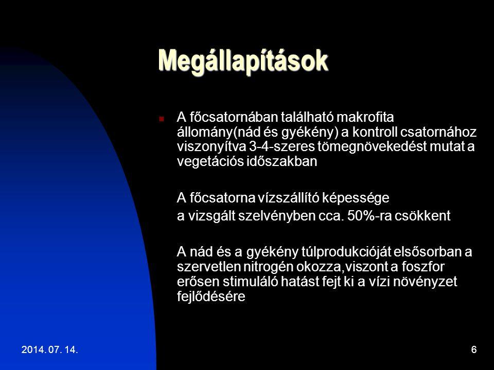 2014. 07. 14.6 Megállapítások A főcsatornában található makrofita állomány(nád és gyékény) a kontroll csatornához viszonyítva 3-4-szeres tömegnövekedé