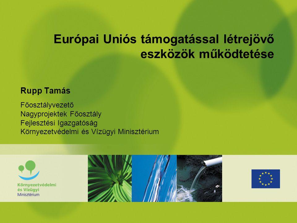 Európai Uniós támogatással létrejövő eszközök működtetése Rupp Tamás Főosztályvezető Nagyprojektek Főosztály Fejlesztési Igazgatóság Környezetvédelmi