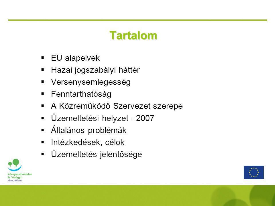 Tartalom  EU alapelvek  Hazai jogszabályi háttér  Versenysemlegesség  Fenntarthatóság  A Közreműködő Szervezet szerepe  Üzemeltetési helyzet - 2