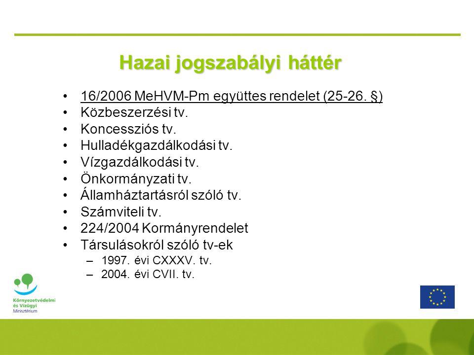 Hazai jogszabályi háttér 16/2006 MeHVM-Pm együttes rendelet (25-26. §) Közbeszerzési tv. Koncessziós tv. Hulladékgazdálkodási tv. Vízgazdálkodási tv.