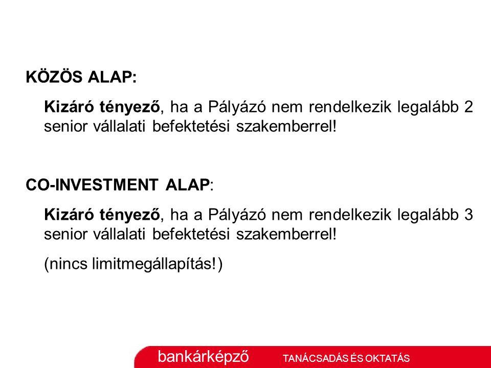 bankárképző TANÁCSADÁS ÉS OKTATÁS KÖZÖS ALAP: Kizáró tényező, ha a Pályázó nem rendelkezik legalább 2 senior vállalati befektetési szakemberrel.
