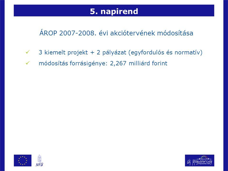 5. napirend ÁROP 2007-2008. évi akciótervének módosítása 3 kiemelt projekt + 2 pályázat (egyfordulós és normatív) módosítás forrásigénye: 2,267 milliá