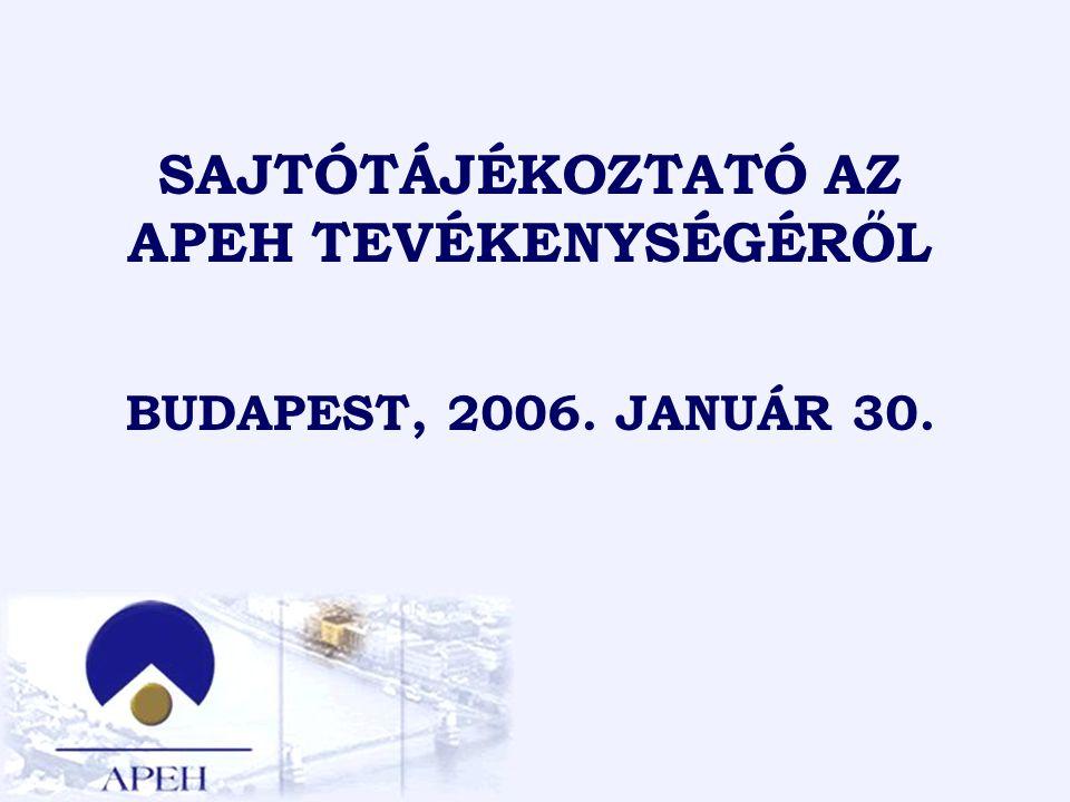 1 SAJTÓTÁJÉKOZTATÓ AZ APEH TEVÉKENYSÉGÉRŐL BUDAPEST, 2006. JANUÁR 30.
