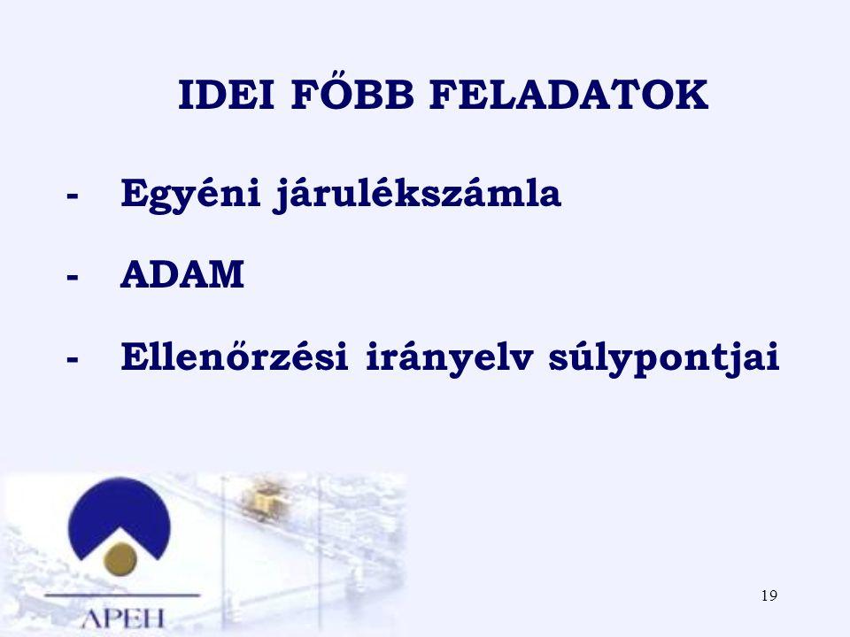 19 IDEI FŐBB FELADATOK - Egyéni járulékszámla - ADAM - Ellenőrzési irányelv súlypontjai