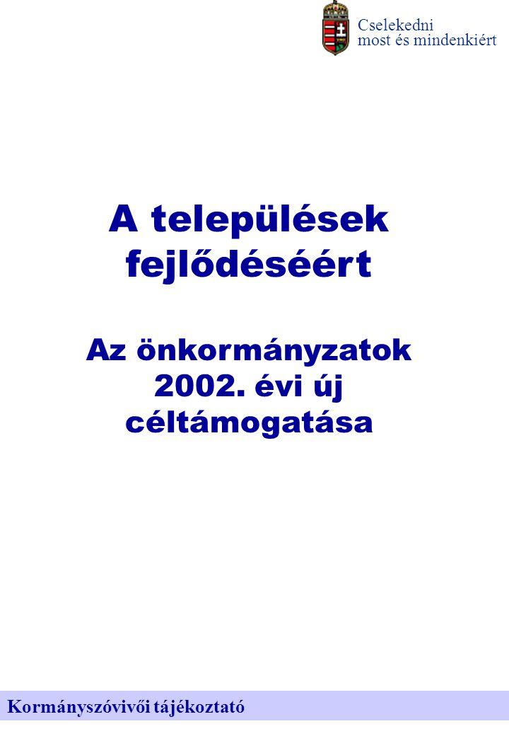 Az elosztható forrás Cselekedni most és mindenkiért Kormányszóvivői tájékoztató Összesen 24 milliárd, még az idén felhasználható összegét tekintve 9,7 milliárd új önkormányzati céltámogatás odaítéléséről döntött a kormány.