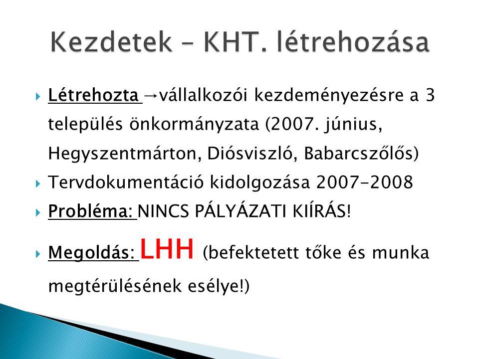  Létrehozta →vállalkozói kezdeményezésre a 3 település önkormányzata (2007. június, Hegyszentmárton, Diósviszló, Babarcszőlős)  Tervdokumentáció kid