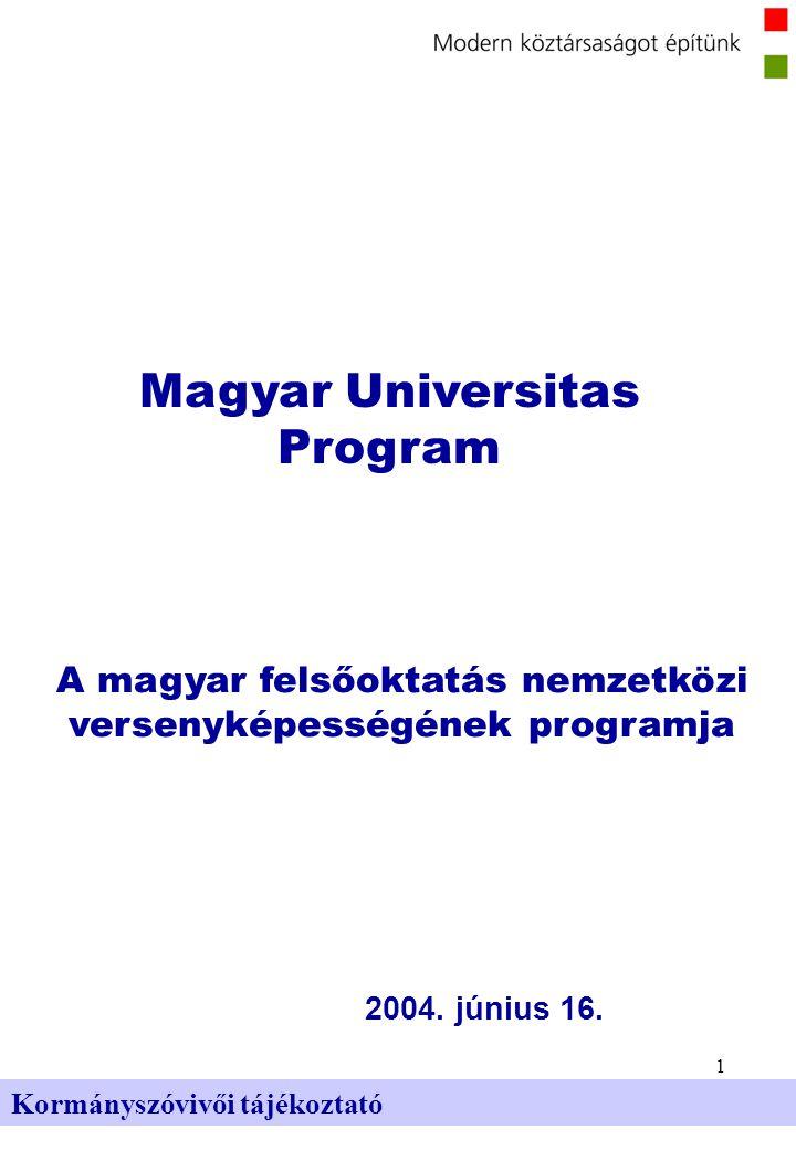 2 Kormányszóvivői tájékoztató A magyar felsőoktatás alap- vető problémái és a Magyar Universitas Program céljai A magyar felsőoktatás alapvető problémái a következők: A felsőoktatási expanziót nem kísérte minőségi fejlesztés Merev képzési szerkezet, mobilitás hiánya Irracionális finanszírozási szerkezet és mechanizmus Leromlott felsőoktatási intézményi infrastruktúra Motiváció hiánya az oktatói bérrendszerben, az utánpótlás hiánya A kutatás-fejlesztésre fordított támogatások messze az uniós átlag alatt A Magyar Universitas Program céljai a következők: Minőségi képzés, nemzetközi szinten is versenyképes tudás biztosítása A hallgatók támogatása, szabadság, mobilitás Egyenlő esélyek megteremtése A teljesítmény többszintű honorálása, erősen differenciált bérezés Színvonalas oktatói-kutatói munkához szükséges feltételek megteremtése A felsőoktatás és a gazdaság kapcsolatainak erősítése