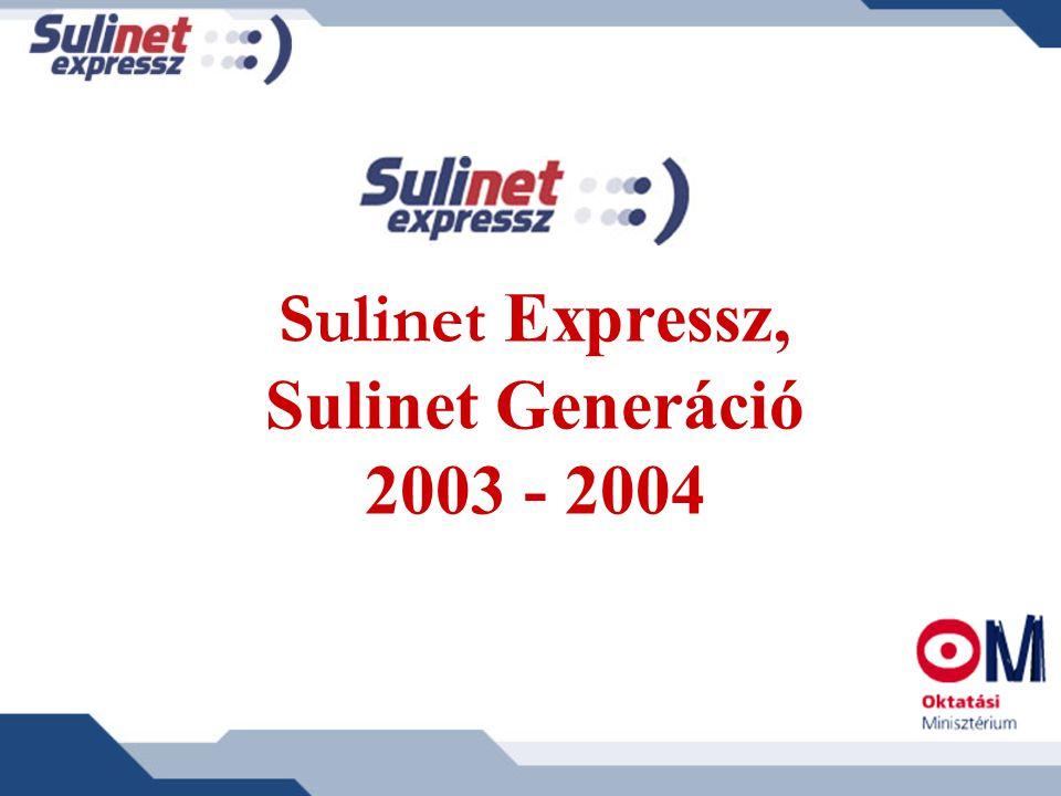Sulinet Generáció 1998: valamennyi középiskola bekötése az Internet hálózatba a Sulinet Program keretében 2004: 300 középiskola jutott wireless hálózathoz az IHM pályázatán 2004: Műholdas adatszórás 600 elzárt vagy határon túli iskolának 2005 végéig: A Közháló Program keretében valamennyi közoktatási intézmény szélessávú Internet kapcsolattal rendelkezik (5500 intézmény) 2005: újabb 300 iskola jut wireless hálózathoz
