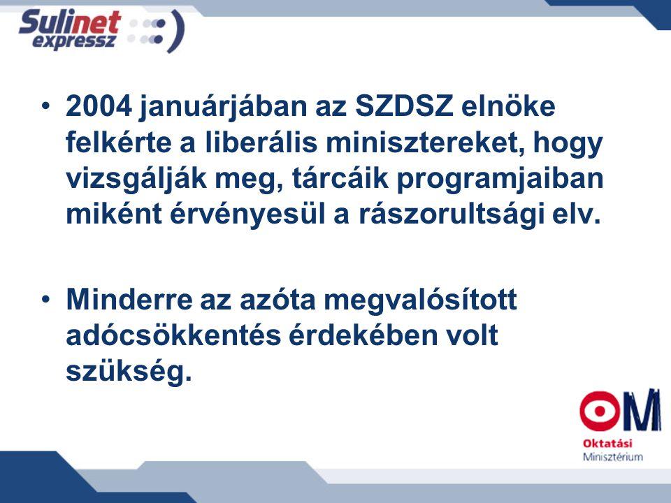 2004 januárjában az SZDSZ elnöke felkérte a liberális minisztereket, hogy vizsgálják meg, tárcáik programjaiban miként érvényesül a rászorultsági elv.