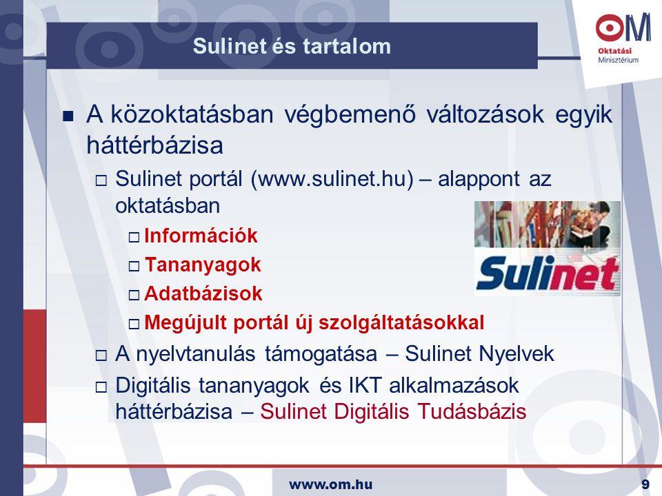 www.om.hu10 Sulinet Digitális Tudásbázis n Sulinet Digitális Tudásbázis  Tesztverzió indulása: 2004.
